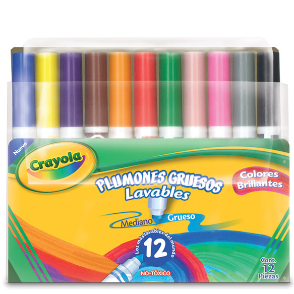 12 Plumones gruesos lavables | crayola.com.mx