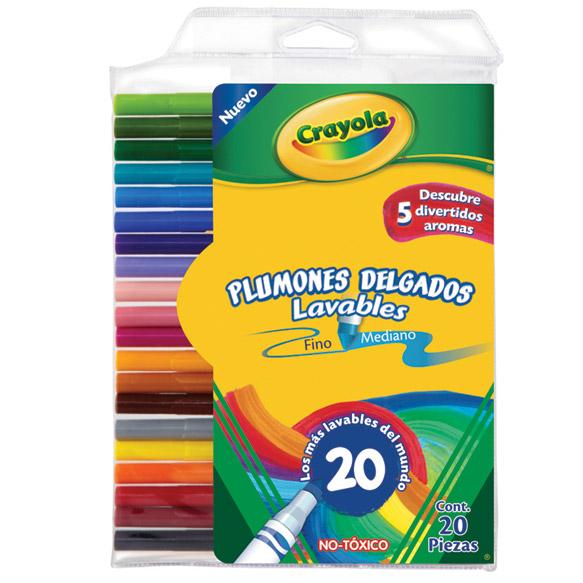 20 Plumones delgados lavables | crayola.com.mx